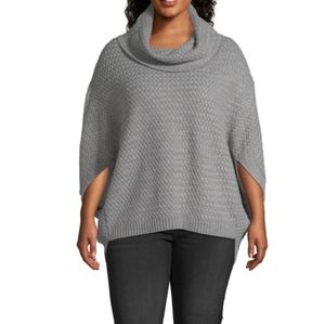 A.N.A Womens gray poncho sweater plus